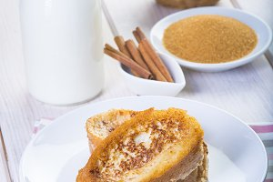 Spanish torrijas or French toasts traditionally for easter in Spain