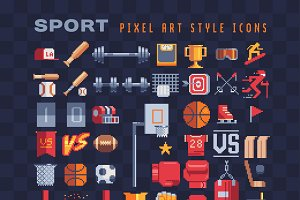 Pixel art sport equipment icons set