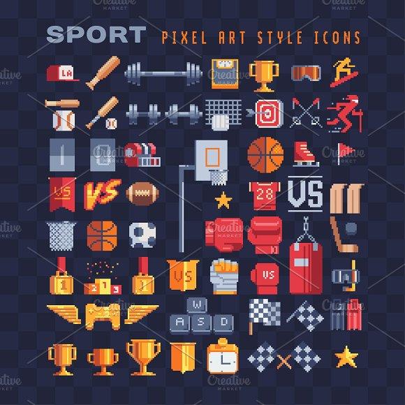 Pixel Art Sport Equipment Icons Set