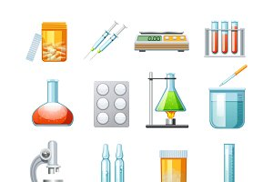 Pharmacology flat icons