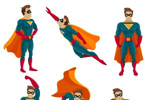 Superhero actions icon set