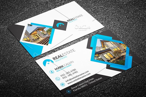 Real Estate Business Card 42 Business Card Templates Creative Market
