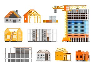 Construction orthogonal icons set