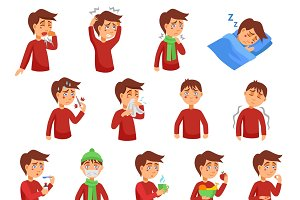 Flu illness cartoon icons