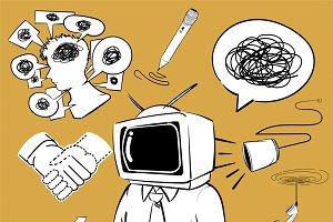 Illustration set of communication