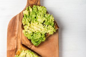 Avocado toasts from sourdough bread