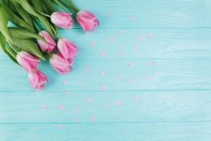 Pink tulips and paper hearts
