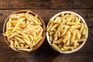 Fusilli and Penne Rigate as Raw Pasta