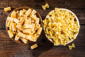 Raw Pasta such as Mezzi Rigatoni and Farfalle