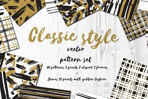 Classic style vector pattern set