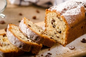 A homemade cake with raisins