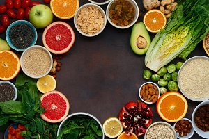 Frame of vegetarian healthy food