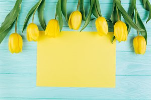 Yellow tulips and postcard