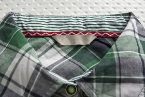 clothing label, green checkered shir
