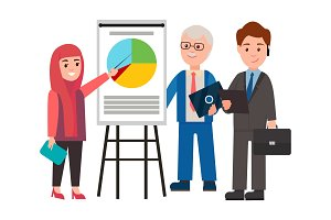 Woman and Men on Presentation Vector Illustration