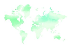 Watercolor effect green world map