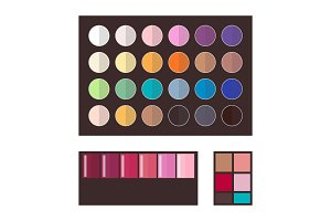 Make Up Eyeshadows Collection Vector Illustration