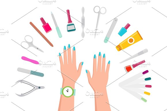 Female Hands Manicure Tools And Nail Polishes