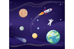 Planets Set and Cosmonaut Vector Illustration