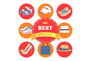 Best Prices Poster and Icons Vector Illustration