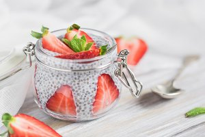 Close-up of a portion chia pudding