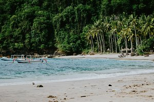 Crystal Bay, Palm trees on sandy beach with some local boats in ocean. Nusa Penida Bali