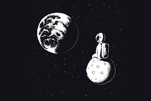 Astronaut sits on Moon and watches t