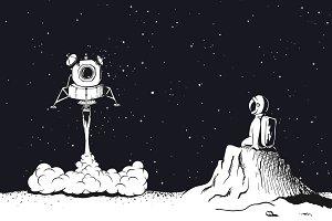 Lunar module launch,landing on Moon