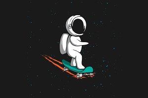 Little astronaut rides on skateboard