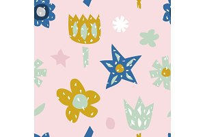 Childish seamless pattern with cute flowers. Creative texture for fabric