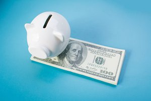 White piggy bank and money