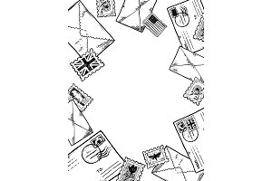 Post stamp envelopes engraving vector illustration