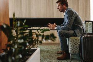 Business traveler waiting