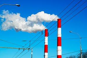 City chimneys poisoning air background