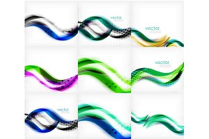 Set of wave blurred colorful stripe backgrounds, digital techno bright color abstract backgrounds template. Collection of waves