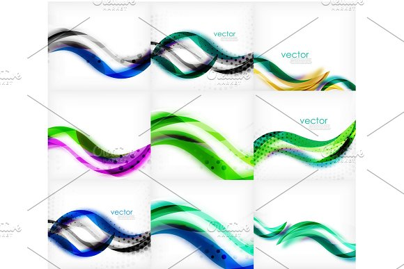 Set Of Wave Blurred Colorful Stripe Backgrounds Digital Techno Bright Color Abstract Backgrounds Template Collection Of Waves