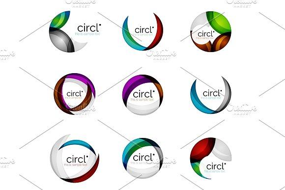 Set Of Circle Swirl Business Logos Vector Geometric Icons