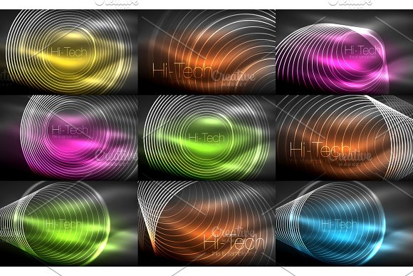 Set Of Neon Circular Outline Rings Backgrounds