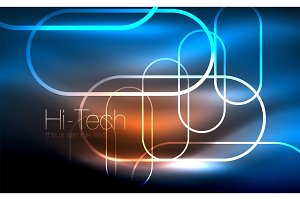 Glowing ellipses dark background, waves and swirl, neon light effect, shiny vector magic effects