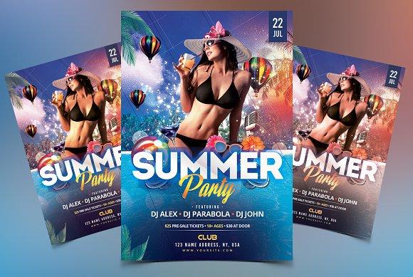 summer party psd flyer template flyer templates creative market