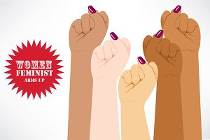 Women Feminist Fist Up