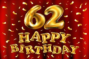 happy birthday 62 balloons gold