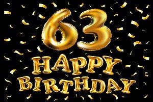 happy birthday 63 balloons gold