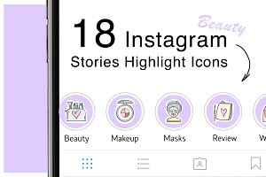 18 Instagram Icons BEAUTY PACK