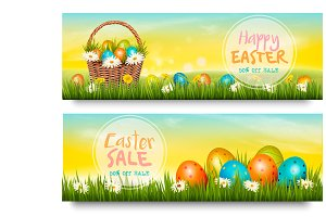 Two Easter Sale banners. Vector