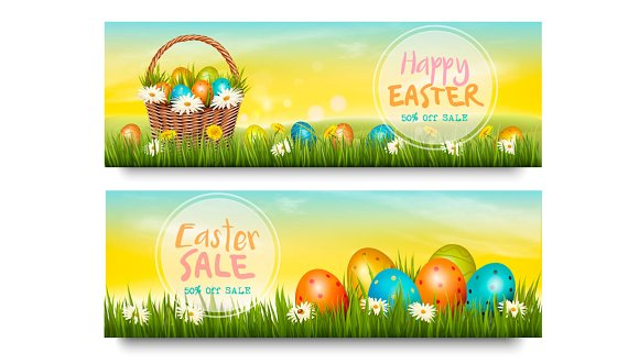 Two Easter Sale Banners Vector