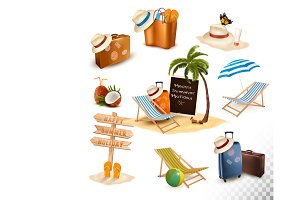 Set of vacation related icon. Vector