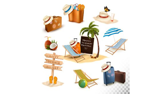 Set Of Vacation Related Icon Vector