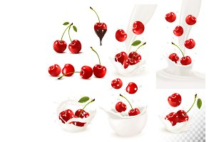 Set of ripe sweet cherries. Vector