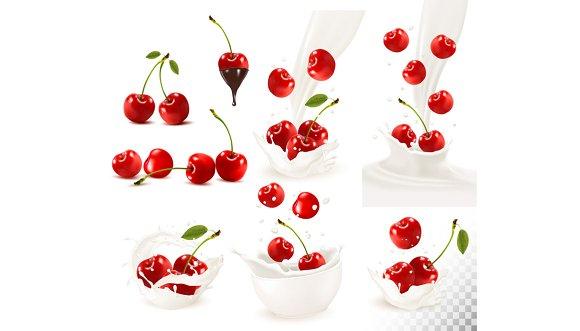 Set Of Ripe Sweet Cherries Vector